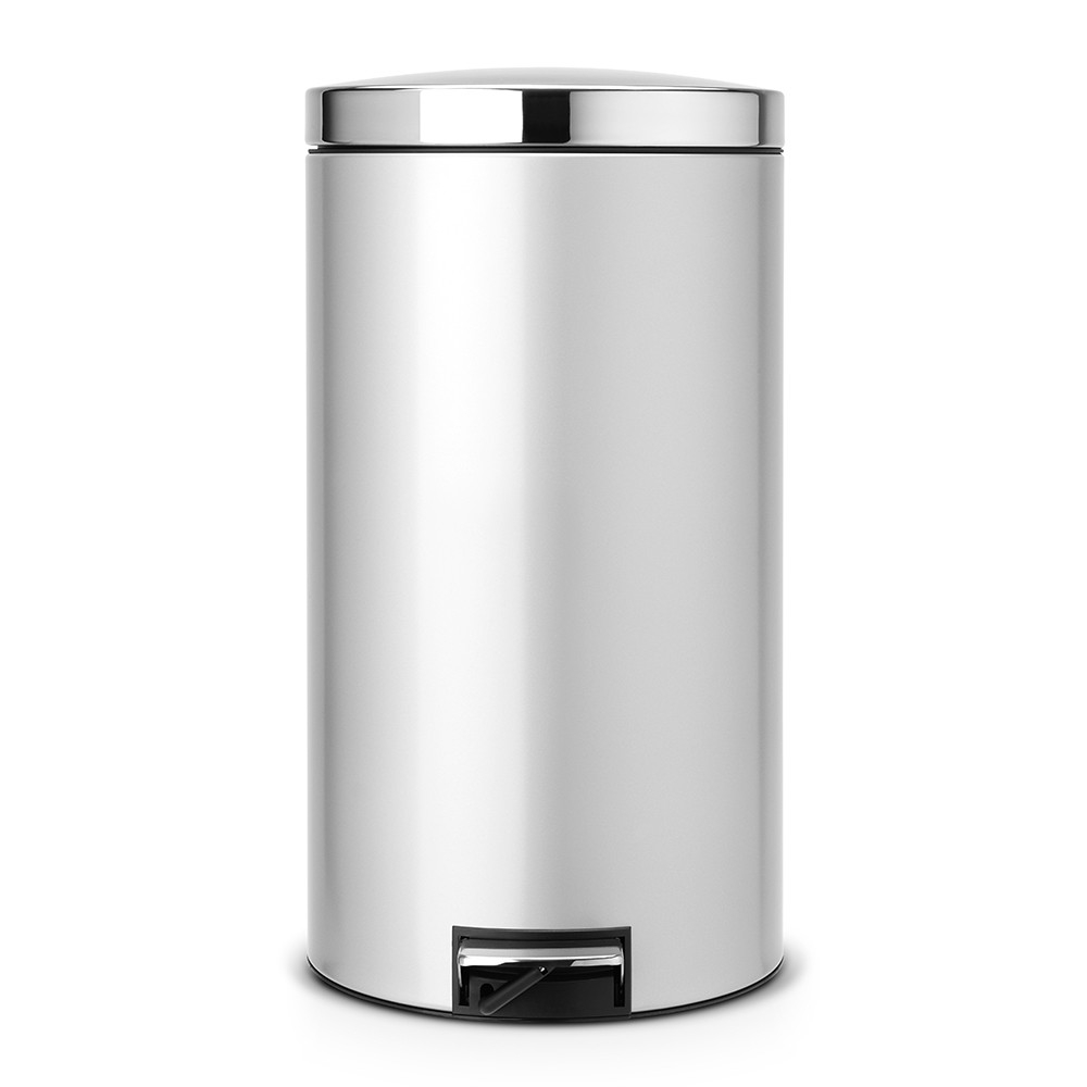 poubelle pedal bin silent 45 litres metallic grey brabantia. Black Bedroom Furniture Sets. Home Design Ideas
