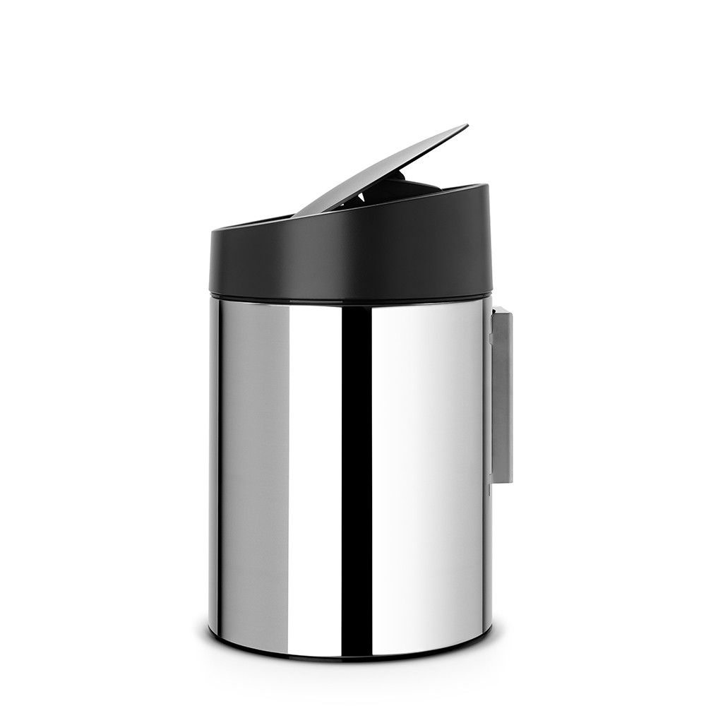 poubelle slide bin 5 litres avec couvercle en plastique brillant steel brabantia. Black Bedroom Furniture Sets. Home Design Ideas