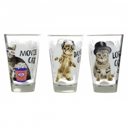 Lot de 6 verre Cat mix
