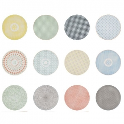 Lot de 12 assiettes plates Happy Mix