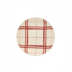 Lot de 6 assiettes calotte carreaux rouge