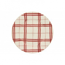 Lot de 6 assiettes plates à ailes carreaux rouge
