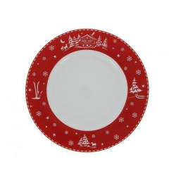 Lot de 6 Assiettes plates Chalet rouge