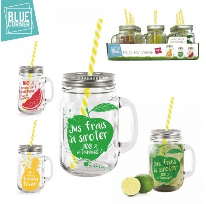 Lot de 3 mugs cocktail - BLUE CORNER - 44 cl