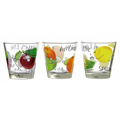 Lot de 3 verres Fruit life - CERVE VERRERIE  - 25 cl - Multicolore